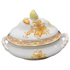 Herend Miniature Tureen in Yellow Chinese Bouquet Pattern