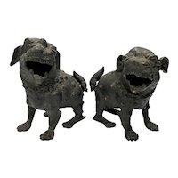 Two Chinese Bronze Guardian Dogs, Kangxi