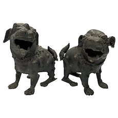 Two Chinese Bronze Guardian Dogs, Kangxi