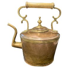 Copper Kettle with Brass Handle & Decoration
