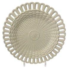 Wedgwood Creamware Basketweave Plate with Reticulated Rim