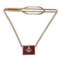Vintage Masonic Freemason Square and Compass on 12k gf Tie Bar w/ Chain