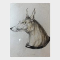 Dog sketch circa 1824 signed and dated indistinctly. Pen and pencil. Gallery tag : Conrad R Graeber