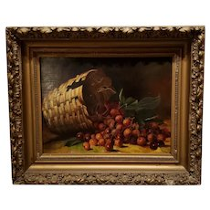 Oil On Canvas - Still Life - Cherries In Basket