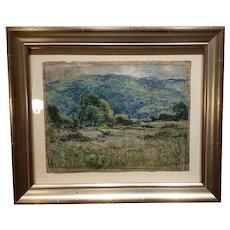 Pastel - Pastureland Scene - Eliot Candee Clark - 1883-1980