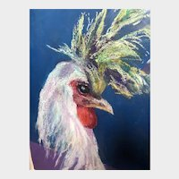 Rooster acrylic painting on paper, 20th c.