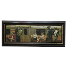New York City Subway Oil Painting Signed David Cook