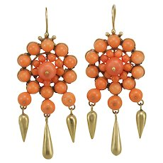 Antique sicilian Sciacca coral 14K gold drop earrings