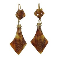 Antique natural shell cameos 14K gold dangle earrings