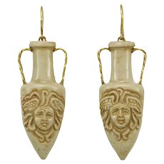 Victorian lava amphora carved 14K gold dangle earrings