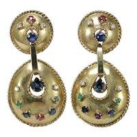 Vintage diamonds, sapphire, emerald, ruby, 14 K gold dangle earrings.