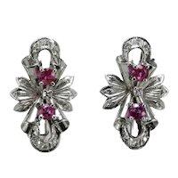 Vintage ruby diamond 18K gold earrings