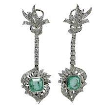 Art Deco natural Colombian emerald diamond platinum drop dangle earrings