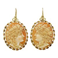Antique Baccante cameos 14K gold earrings