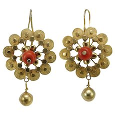 Victorian coral 14K gold earrings