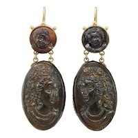 Victorian  natural shell cameos 14K gold earrings