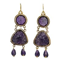 Antique amethyst 14K gold dangle earrings