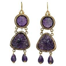 Antique amethyst 14K gold dangle earrings