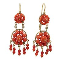Antique coral 14K gold dangle earrings