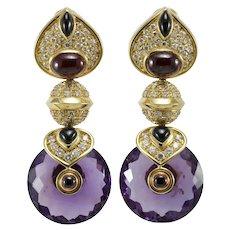 Vintage amethyst diamond 18K gold dangle earrings