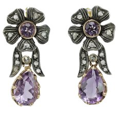 Antique amethyst diamond 12K gold dangle earrings