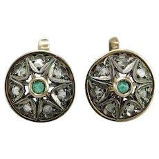 Victorian  emerald diamond 12K gold earrings