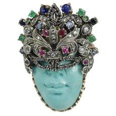 Vintage turquoise mask 9K gold ring