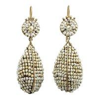 Victorian pearl 14K gold drop dangle earrings