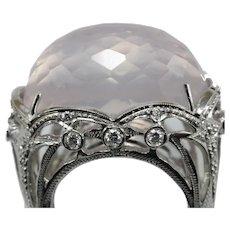 Vintage pink topaz diamond 18K gold ring