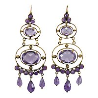 Victorian amethyst 14K gold earrings