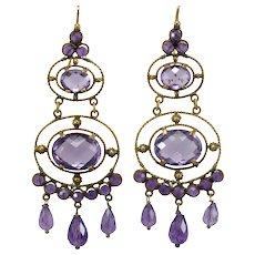 Victorian amethyst 14K gold earrings