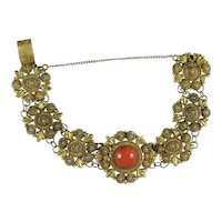 Victorian gold cannetille coral bracelet