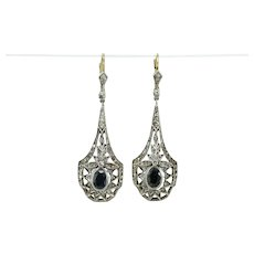 Vintage sapphire diamonds 18K gold earrings