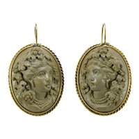 Victorian lava cameos 14K Gold earrings