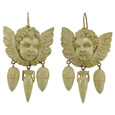 Victorian lava carved  14 K gold earrings
