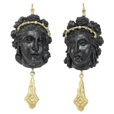 Victorian onyx cameos 14K gold earrings
