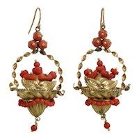 Victorian coral 14K gold dangle earrings