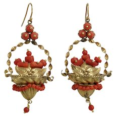 Victorian coral 14K gold dangle earrings