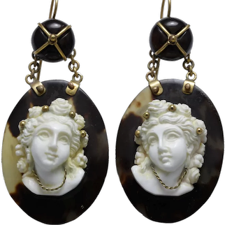 Victorian coral cameos 14K gold earrings