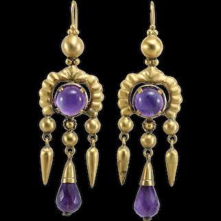 Victorian amethyst 14K gold dangle earrings