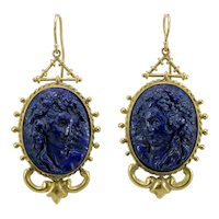 Victorian lapis lazuli cameos 14K gold earrings.