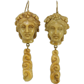 Victorian lava cameos 14K gold dangle earrings