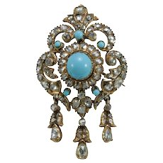Victorian diamonds turquoise 18K gold brooch