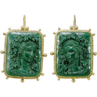Victorian  malachite cameos 14K gold earrings