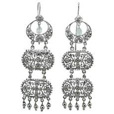 Art decò diamonds 14K gold earrings