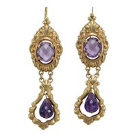 Victorian amethyst 14K gold dangle earrings