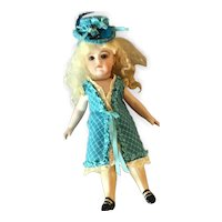 "Mignonette sized dress and hat ensemble. For 7"" doll"