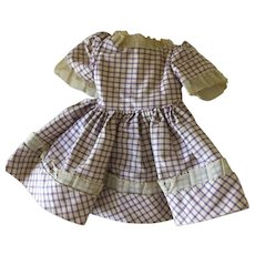 Commercially made 1960's  purple Checkered  doll dress