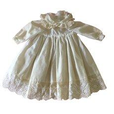 White cotton doll dress with eyelet trim