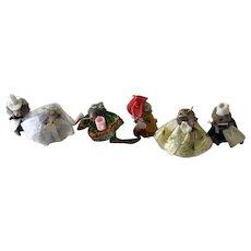 "Lot of  6  Vintage  ""Little Dressed German  Mice"""